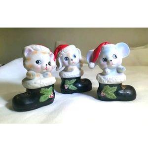 Vintage Homco Christmas Animal Santa Set